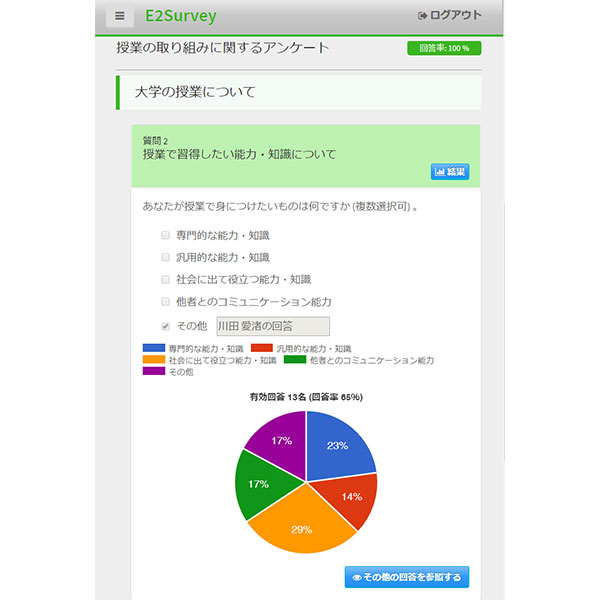 IR向け学生調査システム E2Surveyイメージ画像